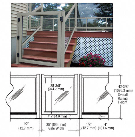 "C.R. laurence CRL Agate Gray 36"" 100 Series Aluminum Railing System Gate for 1/4"" to 3/8"" Glass at Sears.com"