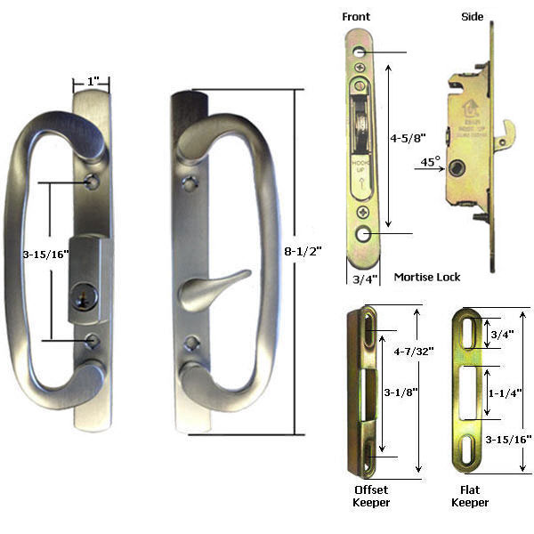 TechnologyLK STB Sliding Glass Patio Door Handle Kit with Mortise Lock w/ Faceplate and Keeper, Brushed Chrome, Keyed at Sears.com