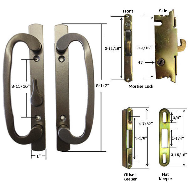 TechnologyLK STB Sliding Glass Patio Door Handle Kit with Mortise Lock and Keeper, Bronze, Non-Keyed at Sears.com