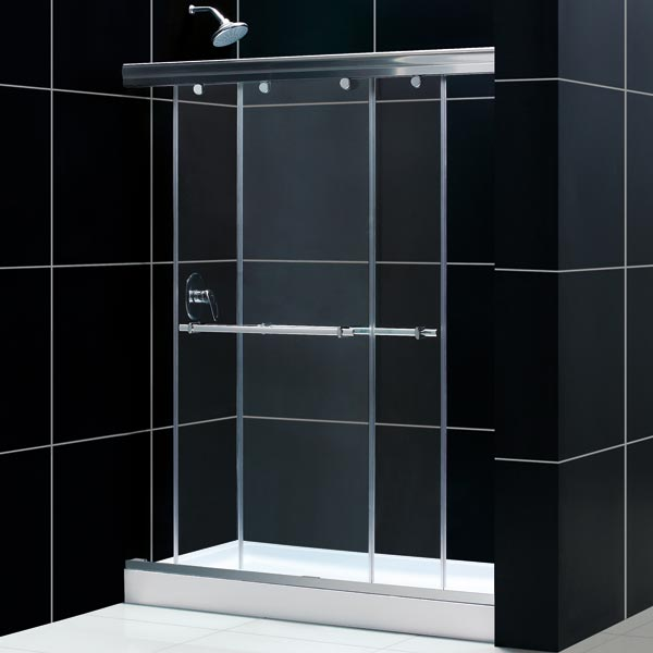 DreamLine DL-6930C-01CL Tub To Shower Kit: CHARISMA Shower Door, 30 x 60 AMAZON Shower Base, Chrome Finish
