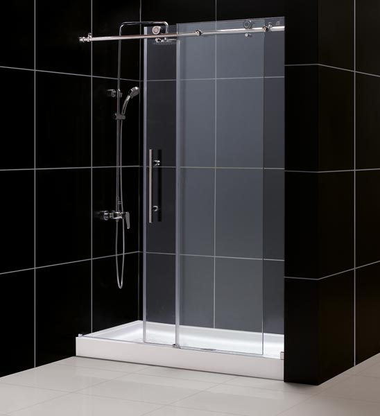 DreamLine DL-6611R-08CL Tub To Shower Kit: ENIGMA-X Shower Door & 30 x 60 AMAZON Shower Base, Polished Stainless Steel Finish at Sears.com