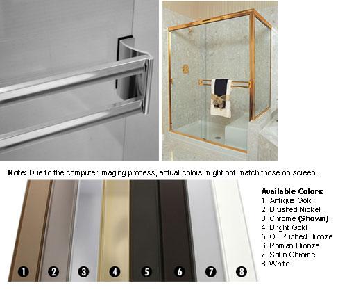 TechnologyLK Satin Chrome Sliding Frameless Shower Door Double Towel Bar Kit - 33