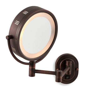 "SeeAll 8"" Oil Rubbed Bronze Finish Dual Sided Surround Light Wall Mount Makeup Mirror (Hardwired Model) at Sears.com"