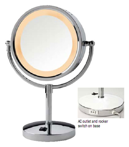 "SeeAll 8-1/2"" Chrome Finish Halo Lighted Pedestal Makeup Mirror at Sears.com"