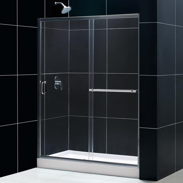 DreamLine DL-6093R-01CL Tub To Shower Kit: INFINITY PLUS Shower Door, AMAZON 32 x 60 Shower Base, Chrome Finish