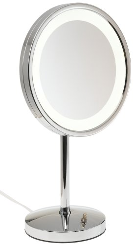 "Jerdon Mirrors Jerdon HL1015CL 9.5"" Chrome Finish LED Lighted Pedestal Makeup Mirror at Sears.com"