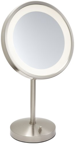 "Jerdon Mirrors Jerdon HL1015NL 9.5"" Nickel Finish LED Lighted Pedestal Makeup Mirror at Sears.com"
