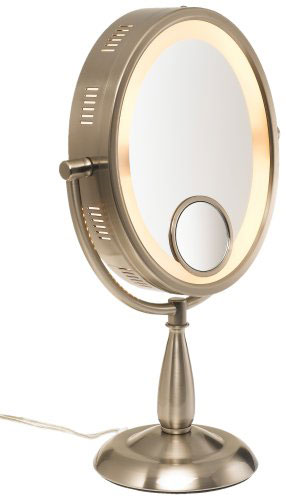 "SeeAll Large 10"" Oval Brushed Nickel Finish Lighted Pedestal Makeup Mirror at Sears.com"