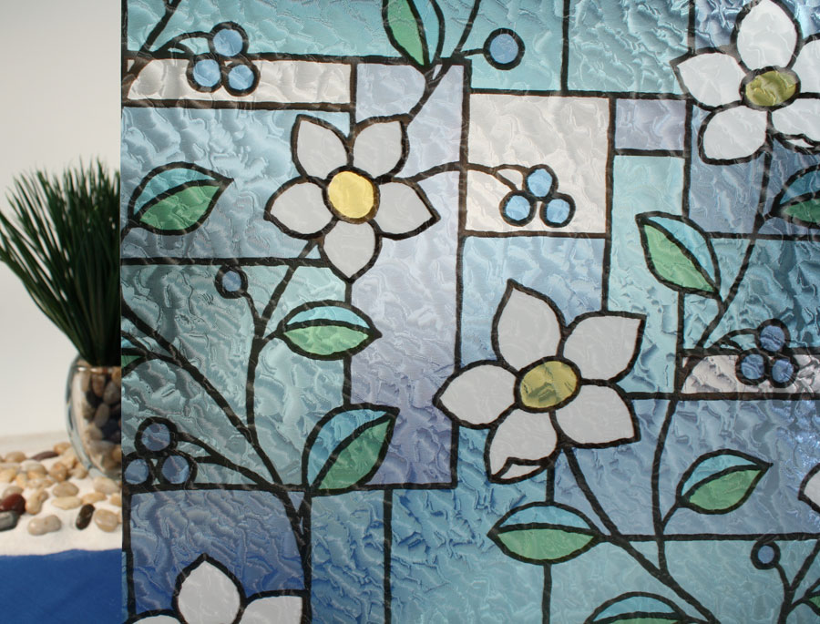 """Gordon Glass Co. Stained Glass Flowers Static Cling Window Film, 36"""" Wide x 6.5 ft at Sears.com"""