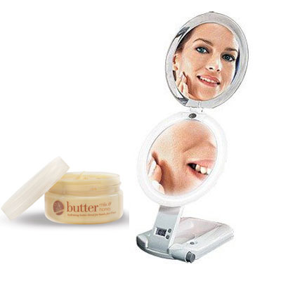Zadro Products, Inc. Zadro ULT111 ULTIMATE Lighted Travel Makeup Mirror and Cuccio Milk & Honey Body Butter at Sears.com